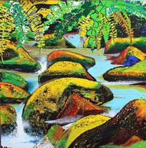 """djungle waters"" / 100x100x6 / acryl-vulkansteine-finger-spachtelmalerei /not available"