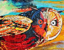 miss owl is watching you / 100 x 80 x 6 / acryl auf holz-leinwandrahmen / preis VB 450