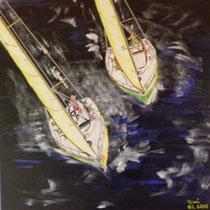 sailing matchrace, 40 x 40, acryl auf leinwand / not available