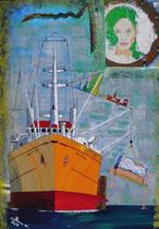 """""""waterproved""""  elbphilharmonie, kupfer-verschraubtes patchwork portrait (operndiva lucia aliberti), hochformat, b 80 x h 100, acryl auf leinwandrahmen"""