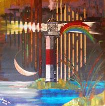 leuchtturm/lighthouse meets la luna, 80 x 80, acryl auf leinwandrahmen