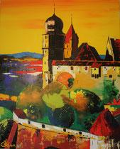 """""""coburg-coburg"""" / 80 x 100 x 5 / acryl auf leinwand-holzrahmen / not available"""