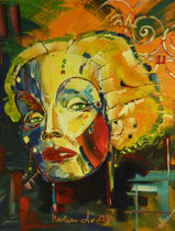 hommage an marlene dietrich 1930, hochformat, b 80 x h 100, acryl auf leinwandrahmen