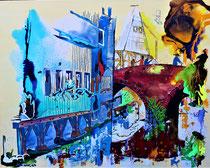 ulm fischerviertel an der blau / 100 x 80 x 6 / acryl-mix / preis auf anfrage
