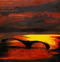 """hommage de maori whale rider emancipation"" 100 x 100 x 5 / acryl auf leinwand-holzrahmen / not available"