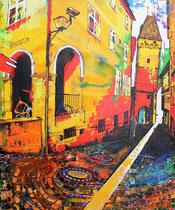 """sympathic backyard of the new middle"" (ulm) / acryl auf leinwand-holzrahmen / 100 x 120 x5  /konserviert preis VB"
