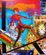 """miss angels` KITEwalk at Dock Elbe 17"" / 100 x 120 x 3,5 / acryl auf leinwand / konserviert"