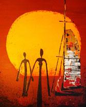 """sundown/ers walking in line"", 80 x 100, acryl auf leinwandrahmen, satinkonserviert"