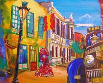 """""""venezianisches finale"""" de la GOMERA / canary island, 100b x 80h, acryl auf leinwandrahmen / erhaben pinsel-und spachtelstrukturiert / firnis konserviert"""