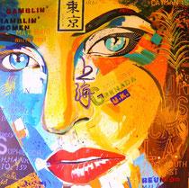 """""""ramlin` / gamlin` women"""" / 100 cm x 100 cm / acryl auf leinwandrahmen / erhaben pinsel-und spachtelstrukturiert / konserviert"""