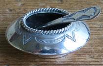"""Navajo salt dish w/spoon c.1950 1.65x1.25"""" $150"""