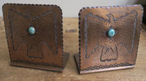 "5296 Navajo Copper Bookends c.1930-50 5x4.625x2.75"" $850"