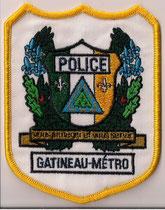 Police Gatineau-Métro - Agent / Constable  (Variance 1)  (Contour jaune - Écritures noires  /  Yellow border - Black lettring)  (Defunct / Obsolete)  (Usagé / Used)  1x