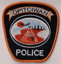 Opitciwan Police  (Atikamekw)  (Version 5)  (Fond noir , contour orange  /  Black background , orange border)  (Modèle rejeté / Rejected model)  (Neuf / New)  2x