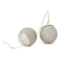earrings, big concrete pearl (15 mm)