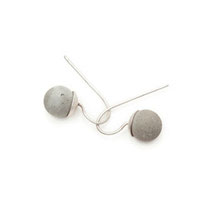 earrings, small concrete pearl (10 mm)