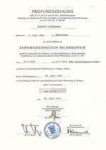Prüfungszeugnis: Zahnmedizinische Fachhelferin