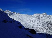 MT-Blanc, Punta Croce au centre, et Grandes Jorasses