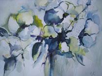 Aquarell - 50x40 cm  - Blumenstrauß in Blau