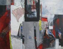 """Leinwand-Acryl -80x100 cm - """"Abstrakte in Rot und Grau"""""""
