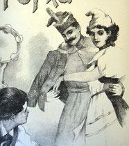 """Пара танцоров - гусар в куртке """"венгерке"""" и девушка в национальном костюме"""