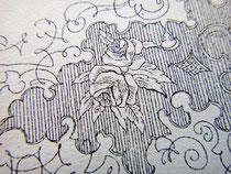 Розочка в лабиринте гравированных узоров