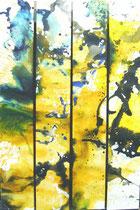 """""""schwarz-gelb""""   Acryl auf Leinwand    4 x 120 x 20"""
