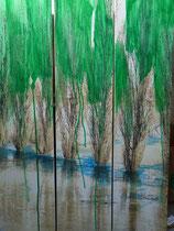 """Hochwasser""     Foto bearb., Acryl auf Leinwand  3x  110 x 30"