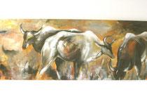 """""""Steppentiere""""    Acryl auf Leinwand   180 x 70"""