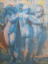 """""""drei Grazien""""     Foto bearb., Acryl auf Leinwand  110 x 80"""