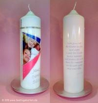 Geschwisterkerze, Text und Foto gedruckt, Straßsteinchen, Wachsdekor handgelegt