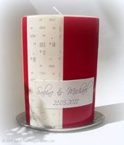 Hochzeitskerze, Beschriftung gedruckt, Organzaband.
