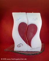 """2-teilige Hochzeitskerze """"Wellen"""", Ringe mit Straßsteinchen, Dekor Wachs, handgelegt"""