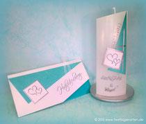 Einladungskarte und Hochzeitskerze: Dekor und Beschriftung Wachs, handgelegt
