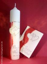 Einladungskarte und Hochzeitskerze, Japanseide, Dekor Wachs, handgelegt