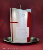 Hochzeitskerze, Namen gedruckt, Dekor Wachs, handgelegt. Straßsteinchen
