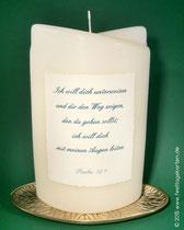 Rückseite Hochzeitskerze mit Trauspruch, gedruckt