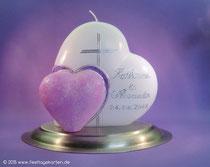"""Hochzeitskerze """"Zwei Herzen"""", Glitter, Dekor und Beschriftung Wachs, handgelegt"""