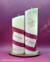 2-teilige Hochzeitskerze. Namen gedruckt, Dekor Wachs, handgelegt