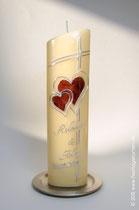 Hochzeitskerze, Wachs mit Holzoptik, Dekor und Beschriftung Wachs, handgelegt