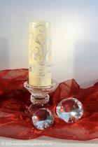 Kerze zur Diamantenen Hochzeit, Text gedruckt, Dekor Wachs, handgelegt