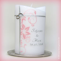 Hochzeitskerze. Dekor und Beschriftung Wachs, handgelegt
