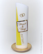 Hochzeitskerze, Spiegelwachs, Dekor und Beschriftung Wachs, handgelegt