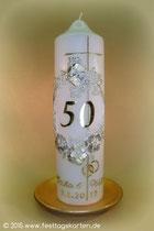 Kerze zu Goldenen Hochzeit, Dekor Wachs, Beschriftung handgelegt