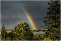 Regenbogen über dem Forggensee mit der Kirche von Waltenhofen 1144