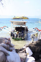 Âus dem Wasser werden die Säcke vom Boot auf dem Kopf getragen..