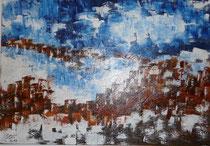 Himmel über.. Stadt meiner Träume,Acryl,  60 x 80 cm, 2014