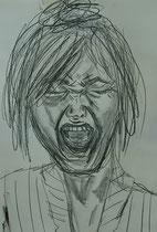 """""""Scream"""", 2015, pencil on paper, 42 x30 cm."""