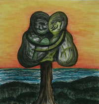"""""""You and Me"""" or """"Dream"""", 2014,  charcoal, acrylic paint and aquarel on paper, 157 x 149 cm."""