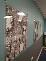 CELLS, 2020, charcoal on paper, StayOkay Utrecht Centrum.(Left drawing currently on loan)